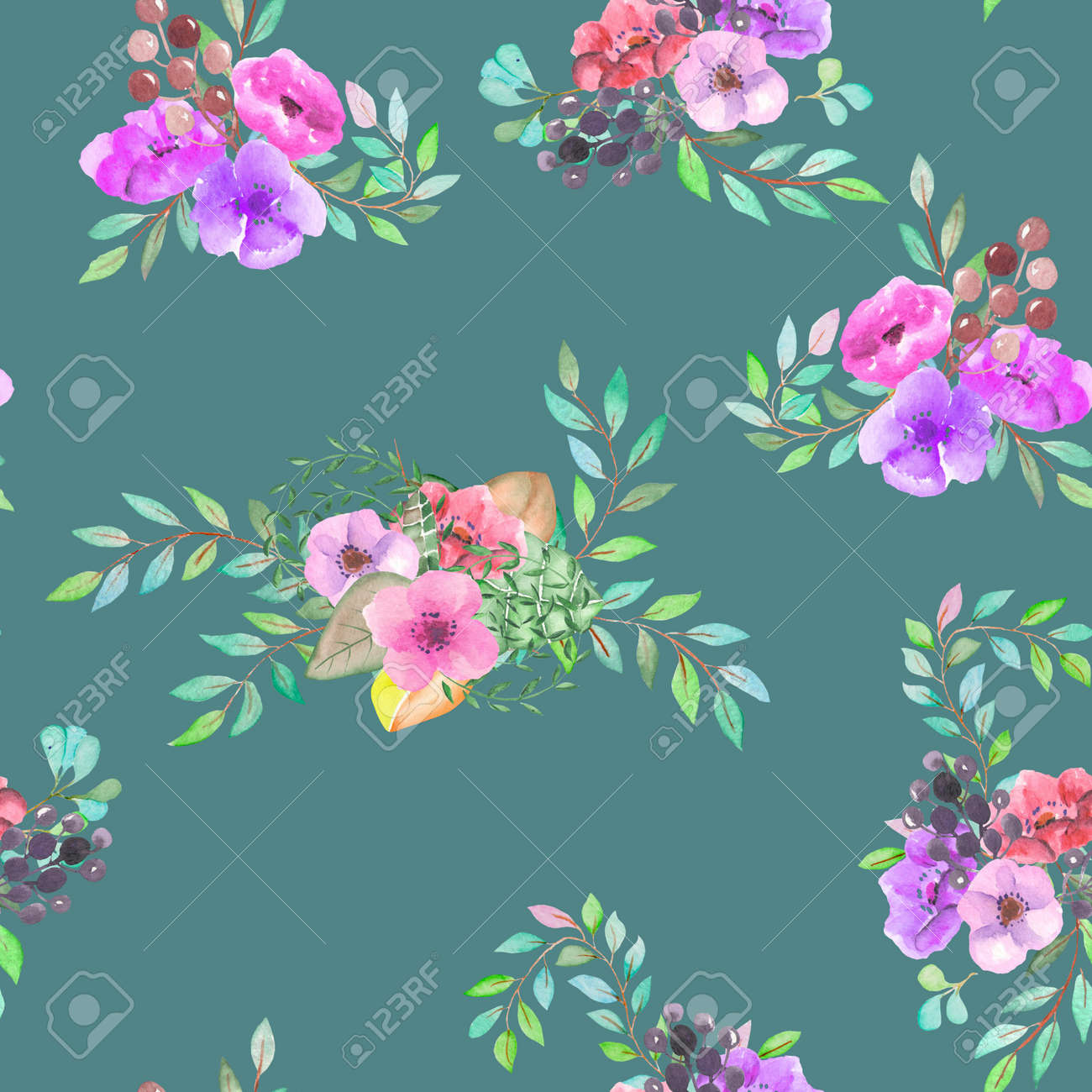 Seamless Pattern With The Simple Watercolor Floral Bouquets,.. Stock ...
