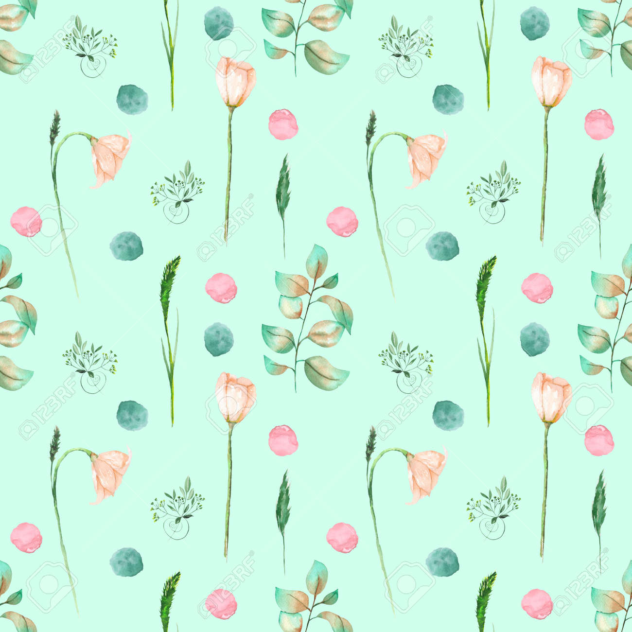 Seamless Floral Pattern With Pink Flowers And Floral Elements