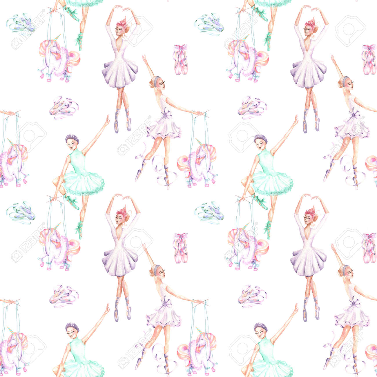 Seamless pattern of ballet dancers royalty free stock photography - Seamless Pattern With Watercolor Ballet Dancers Puppet Unicorns And Pointe Shoes Hand Drawn Isolated