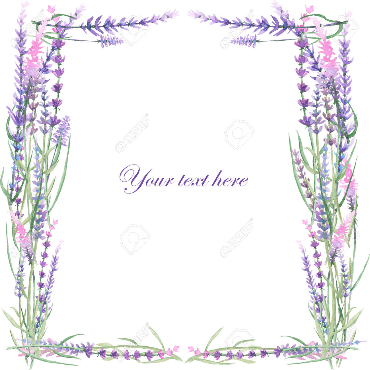 A Card Template Frame Border For A Text With The Watercolor Stock
