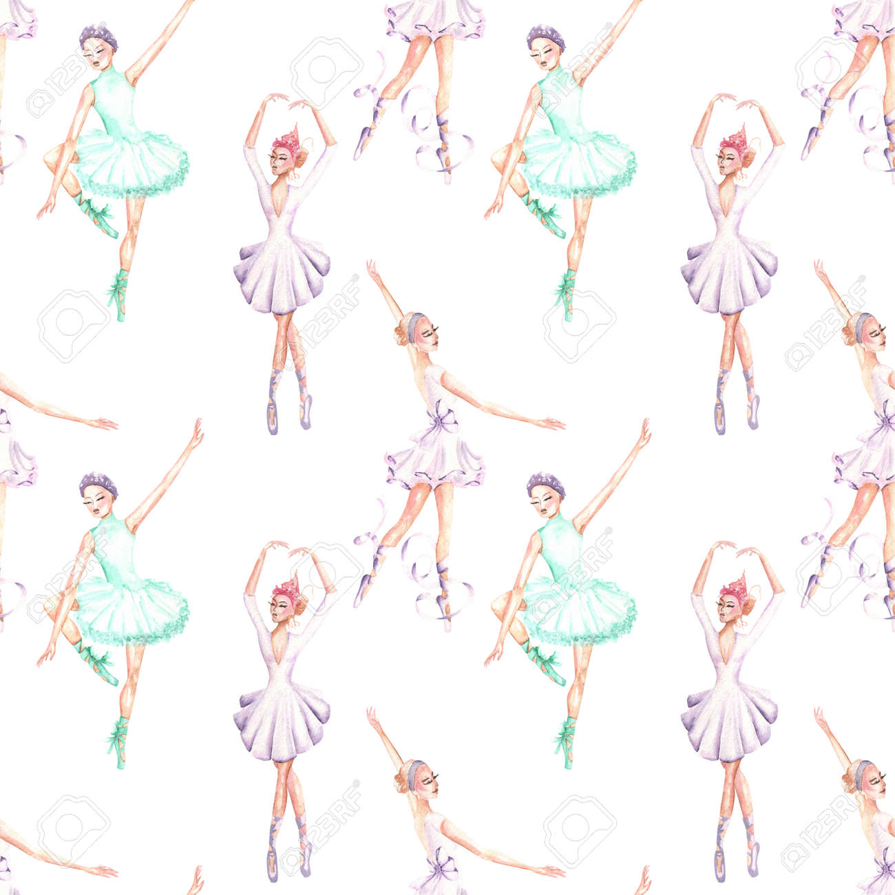 Seamless pattern of ballet dancers royalty free stock photography - Seamless Pattern With Watercolor Ballet Dancers Hand Drawn Isolated On A White Background Stock Photo
