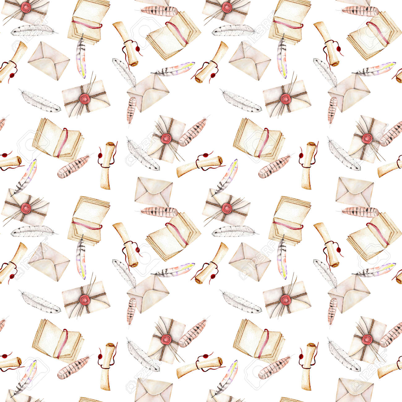 seamless pattern with watercolor vintage mail envelopes feathers