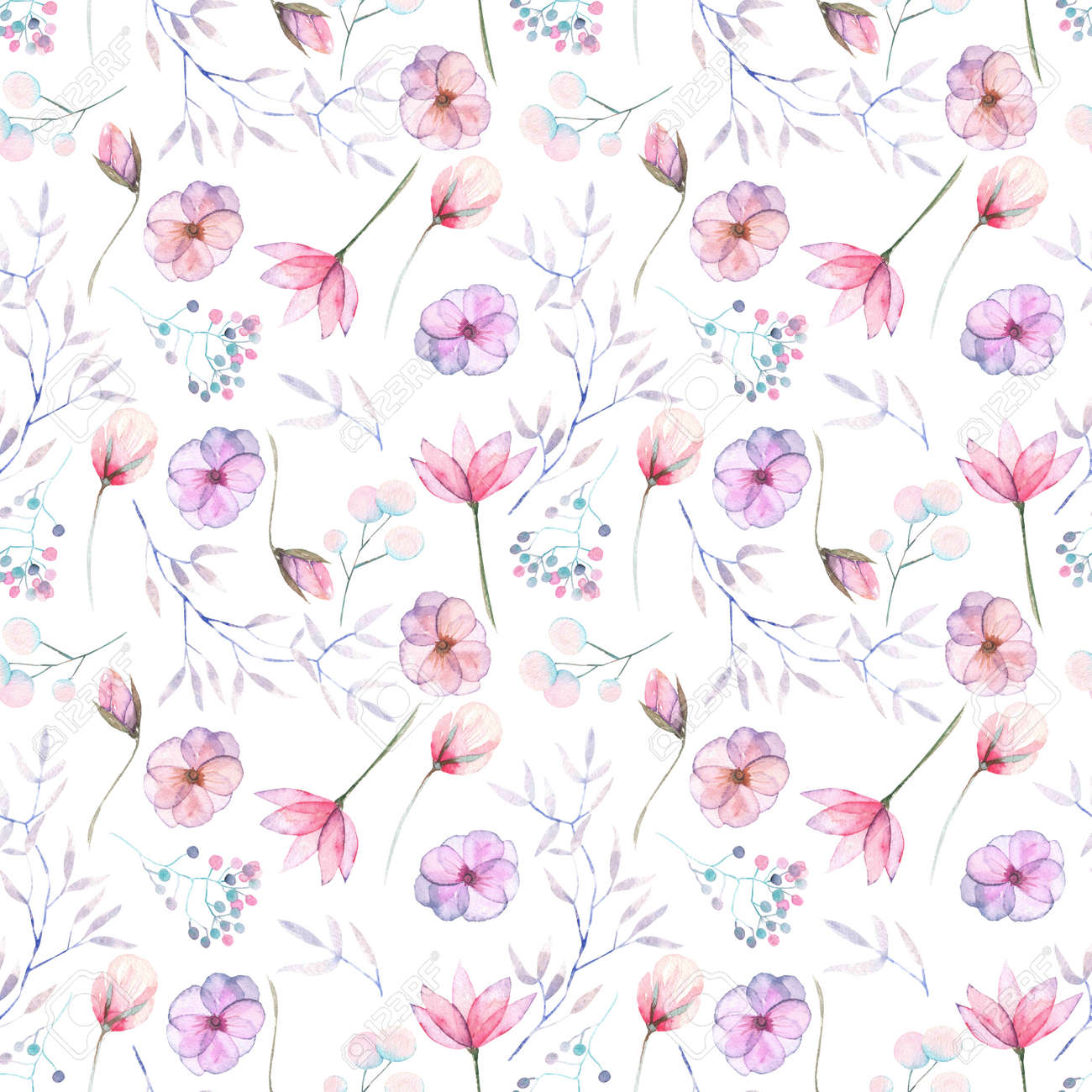 Seamless Floral Pattern With The Watercolor Pink And Purple