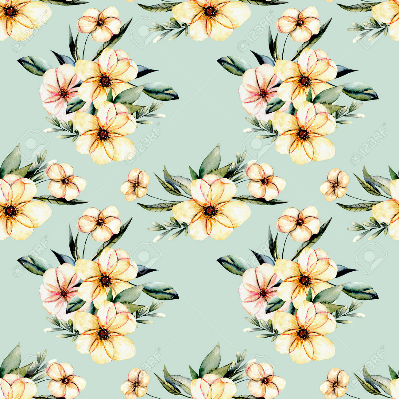Seamless Floral Pattern With Watercolor Pink Flowers Bouquets ...