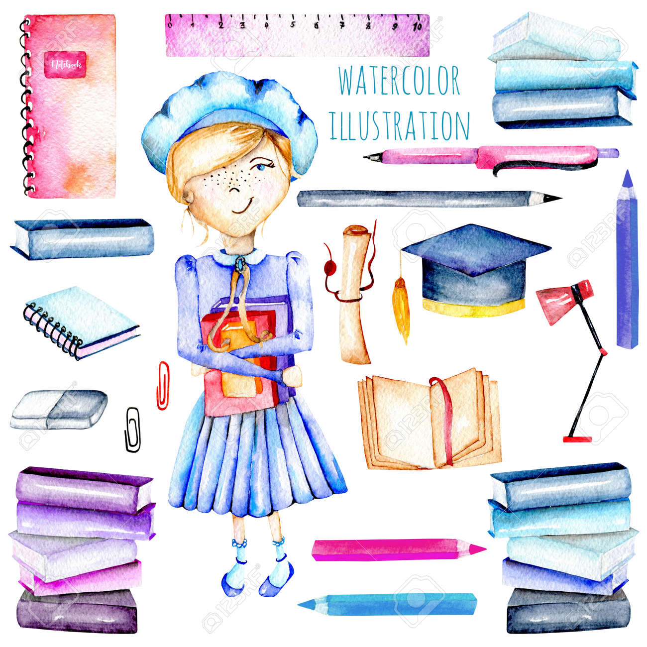 Set Of Watercolor Smart Schoolgirl, Books And Stationery Objects ...