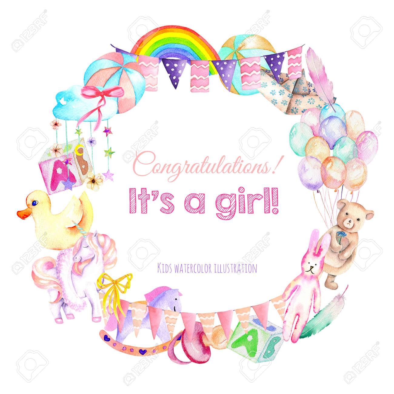 Guirnalda, marco de la frontera de niña ducha elementos de acuarela (juguetes, globos de aire, arco iris, pezón, plumas y otros), pintados a mano ...