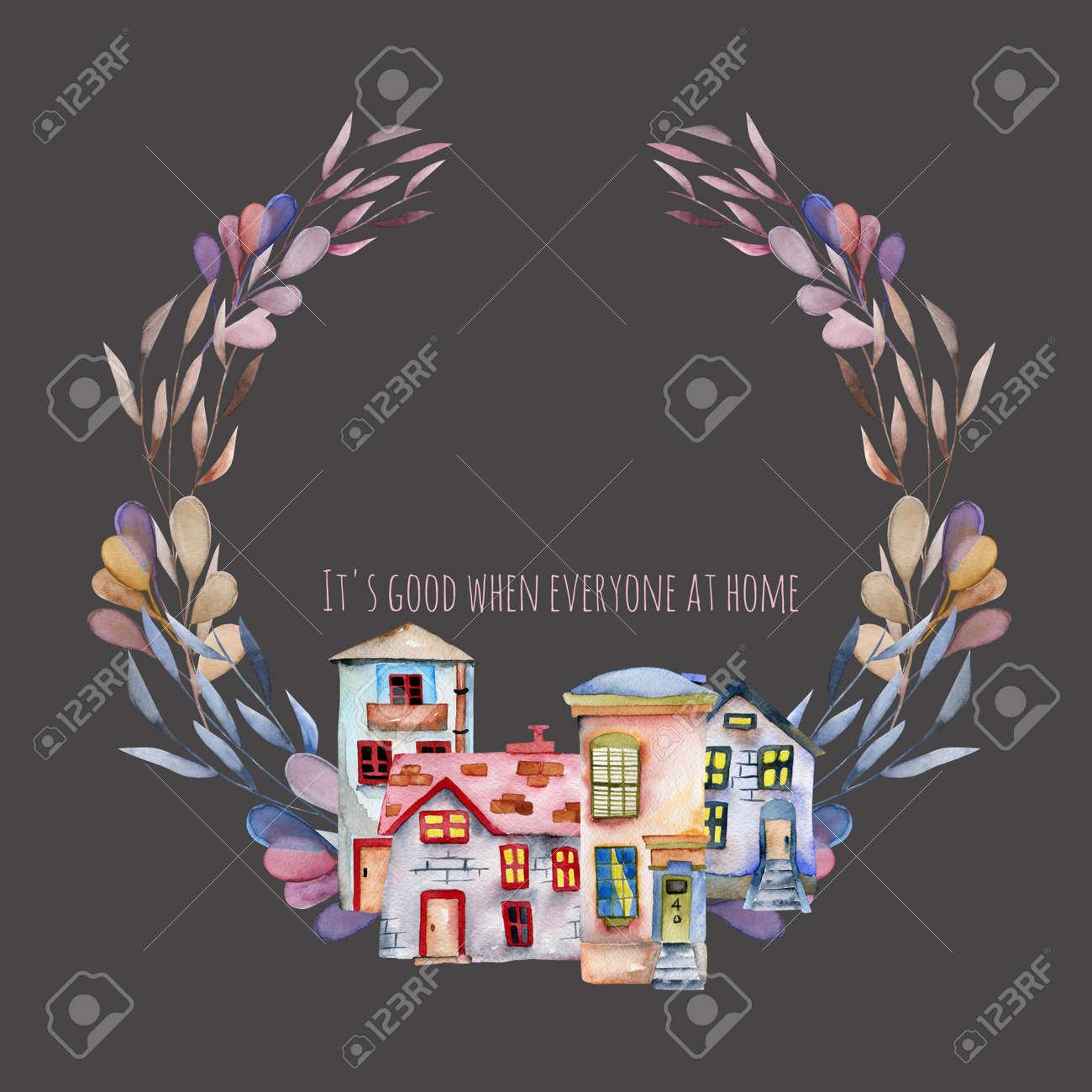 Immagini stock corona floreale con acquarello inglese case di
