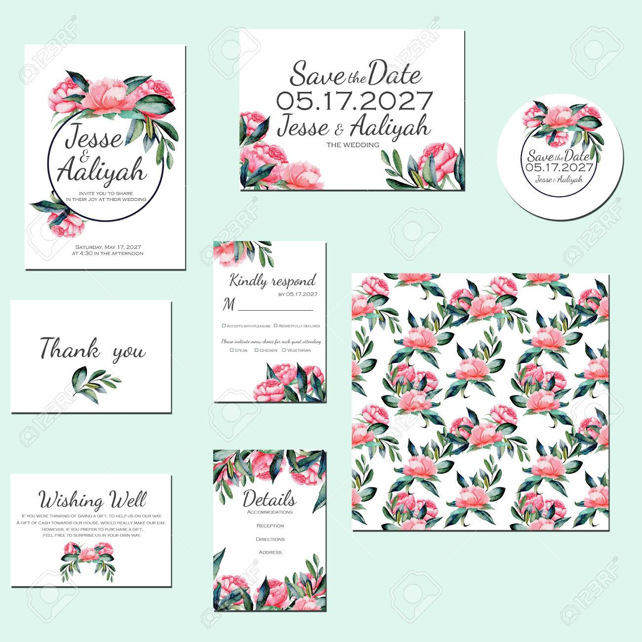 template cards set with watercolor red peonies wedding design