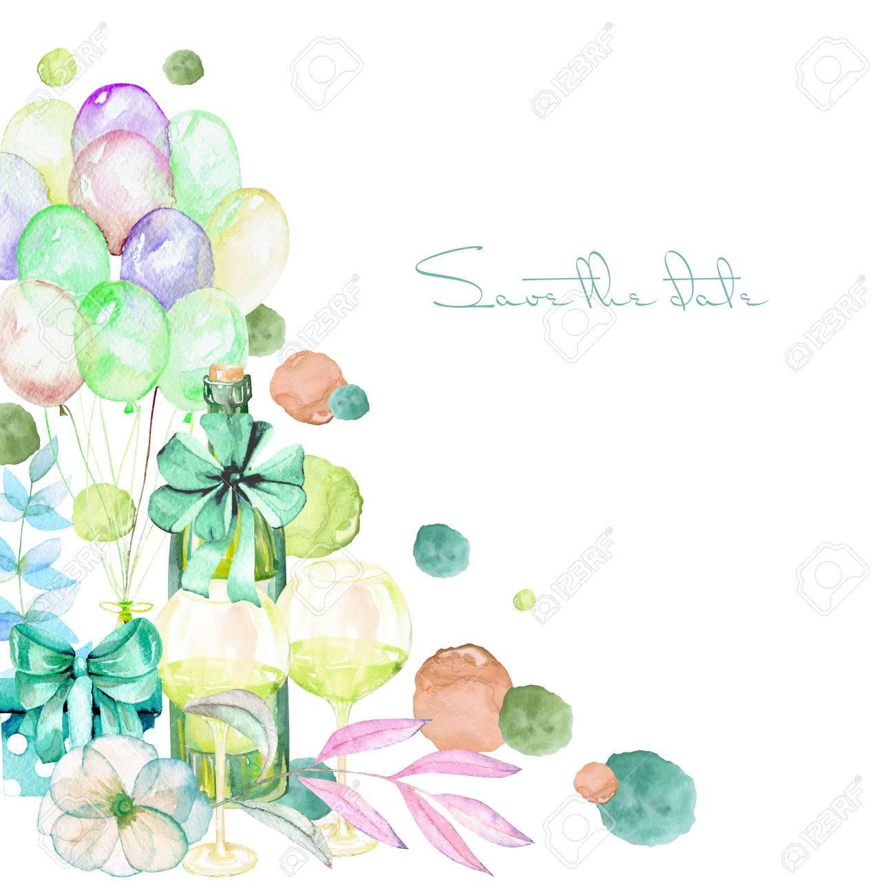 Feiertagskarte Vorlage Mit Aquarell Geschenk-Box, Luft Ballons ...