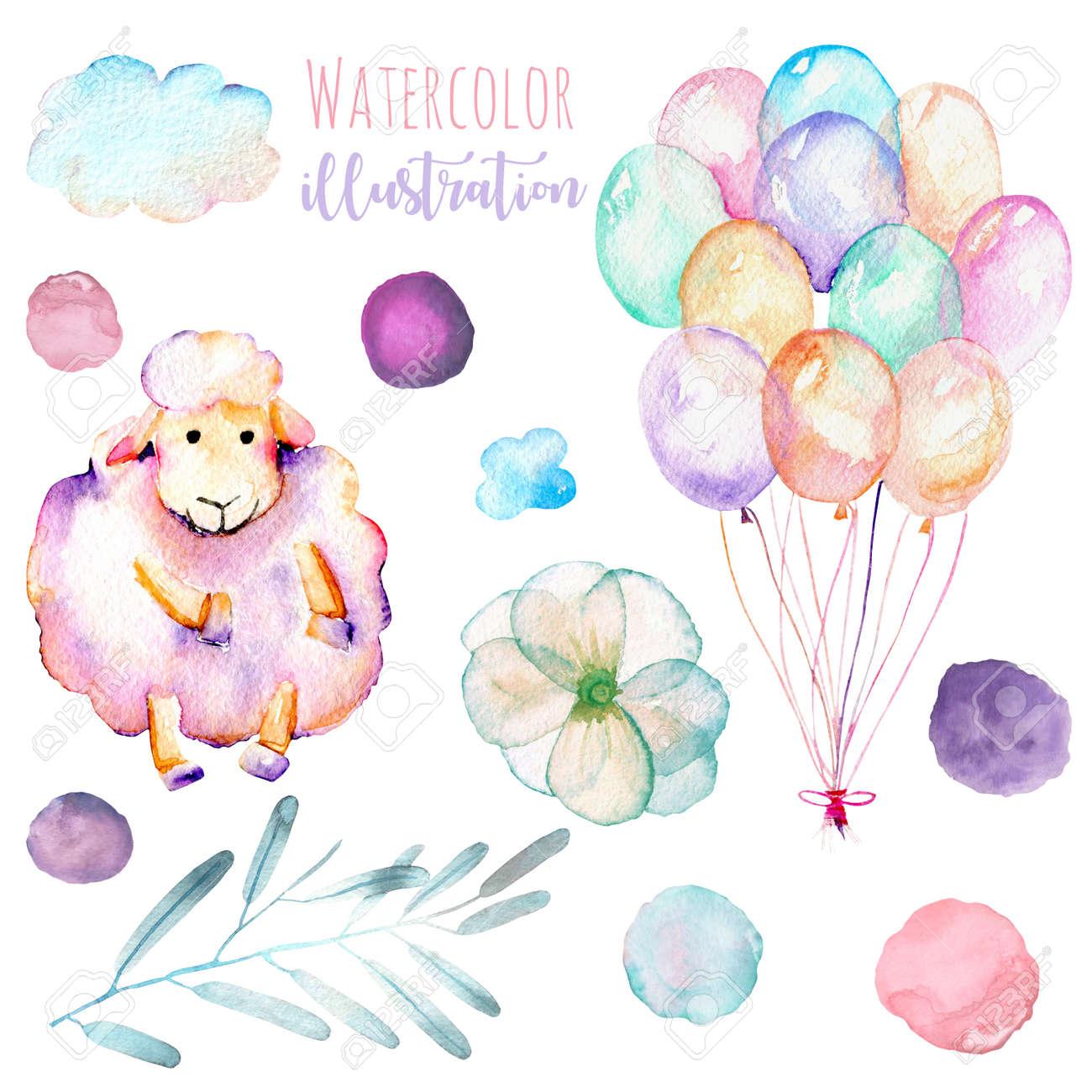 白い背景に分離された手描き水彩かわいいピンクの羊 空気の風船