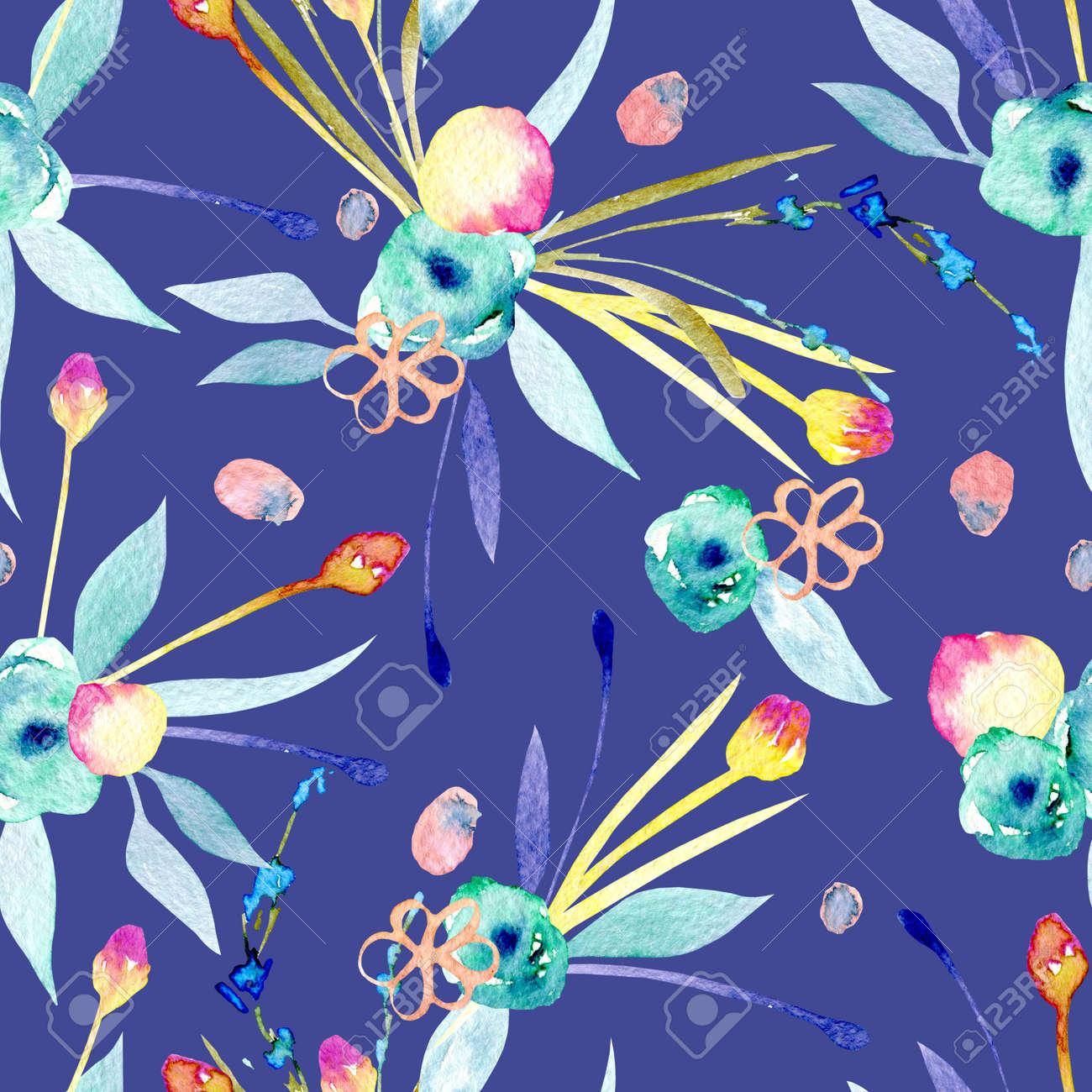 Seamless Pattern With Watercolor Abstract Yellow And Blue Flowers
