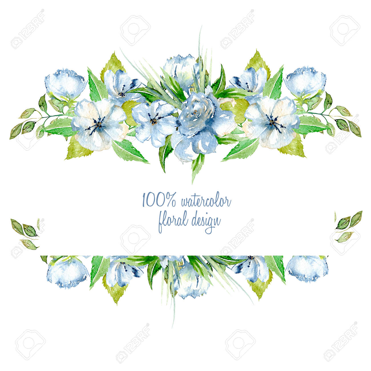 Frame Border With Simple Watercolor Blue Wildflowers And Green Fresh Leaves Hand Painted On A