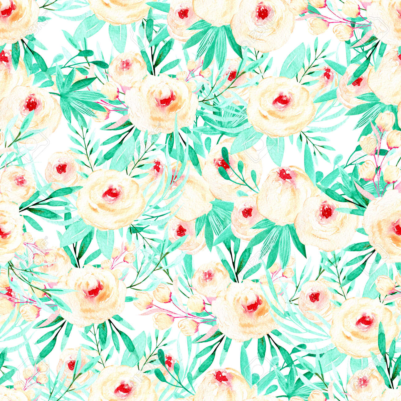 Seamless Floral Pattern With Watercolor Pink Roses And Mint Herbs