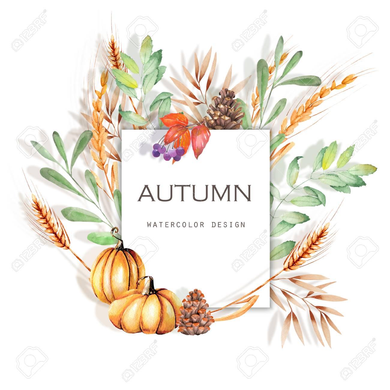 水彩の秋の花のカード イラストバナー デザインの秋白い背景の上に