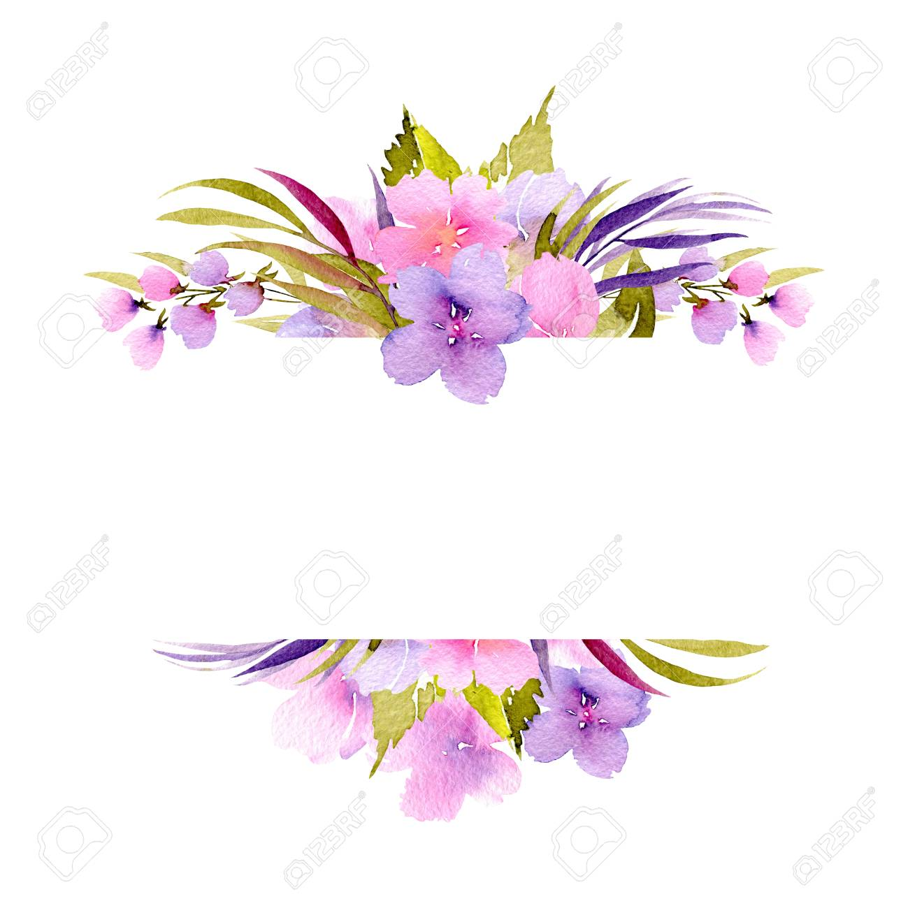 Frame Border With Pink And Purple Small Wildflowers And Green