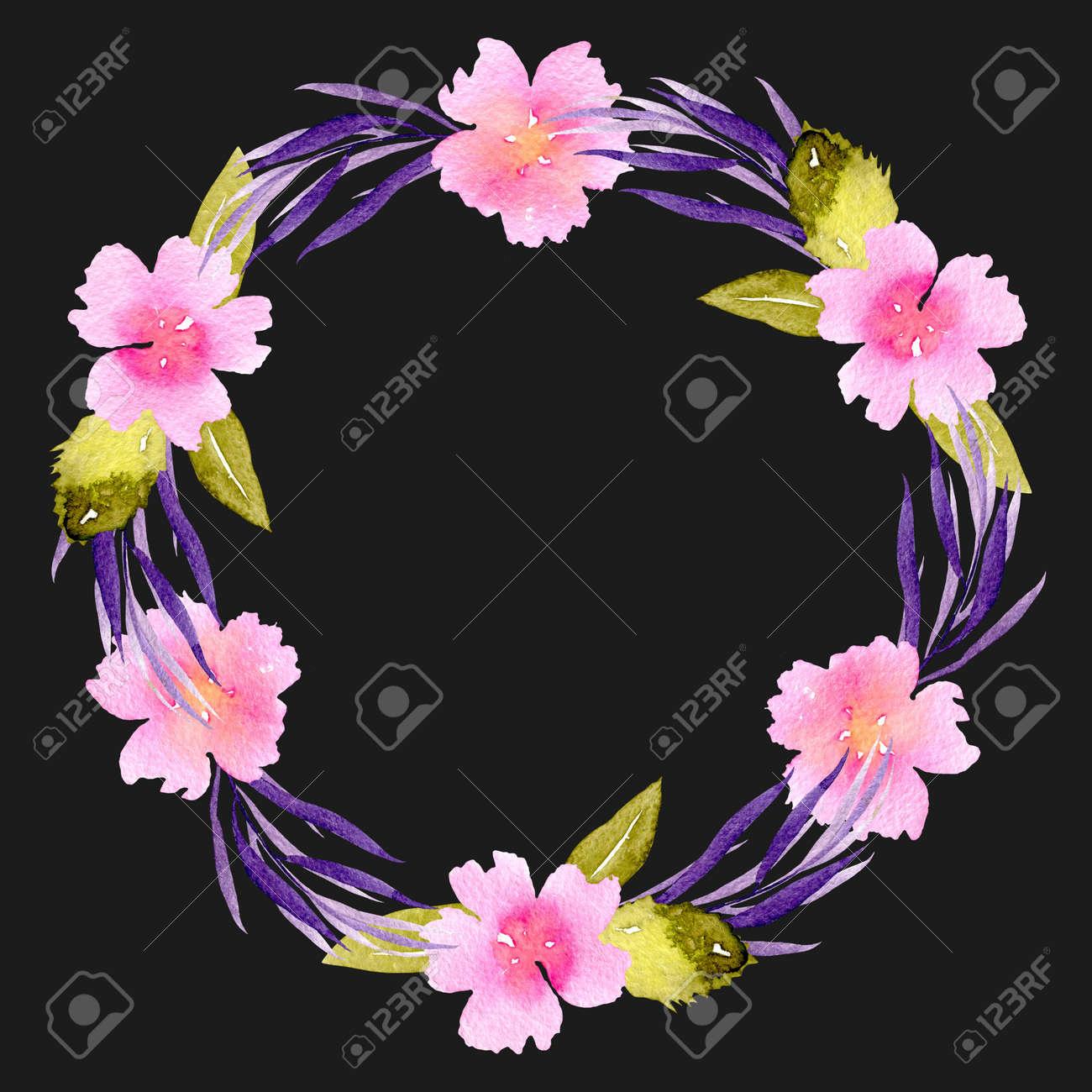 Circle frame wreath of pink flowers purple branches and green circle frame wreath of pink flowers purple branches and green leaves hand painted mightylinksfo