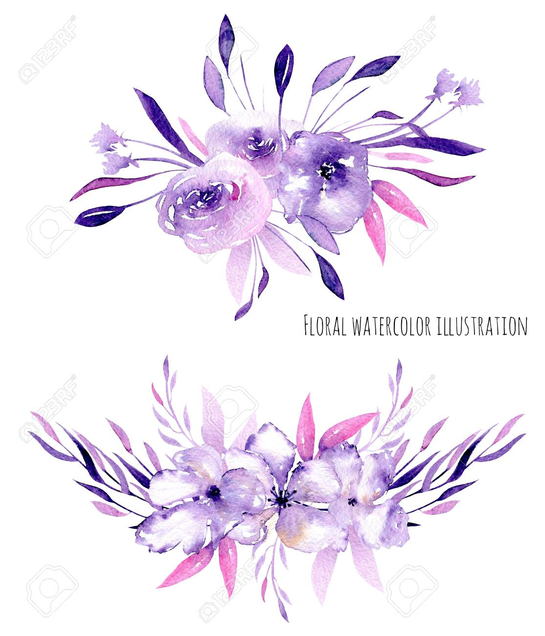 Watercolor Purple Roses Rhododendron Flowers And Branches Bouquets