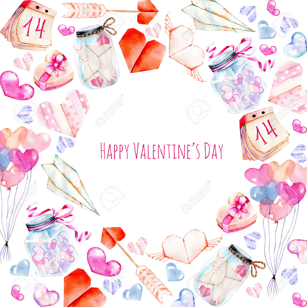 Watercolor Valentine S Day Elements Greeting Card Hearts Origami