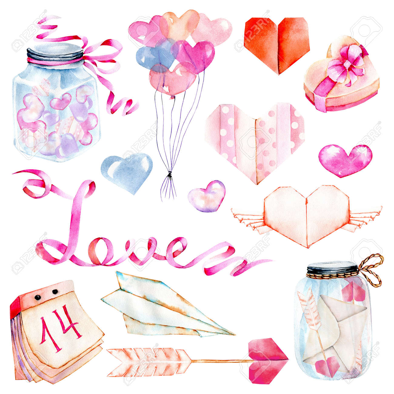 Watercolor Valentine S Day Elements Set Heart Origami Arrow