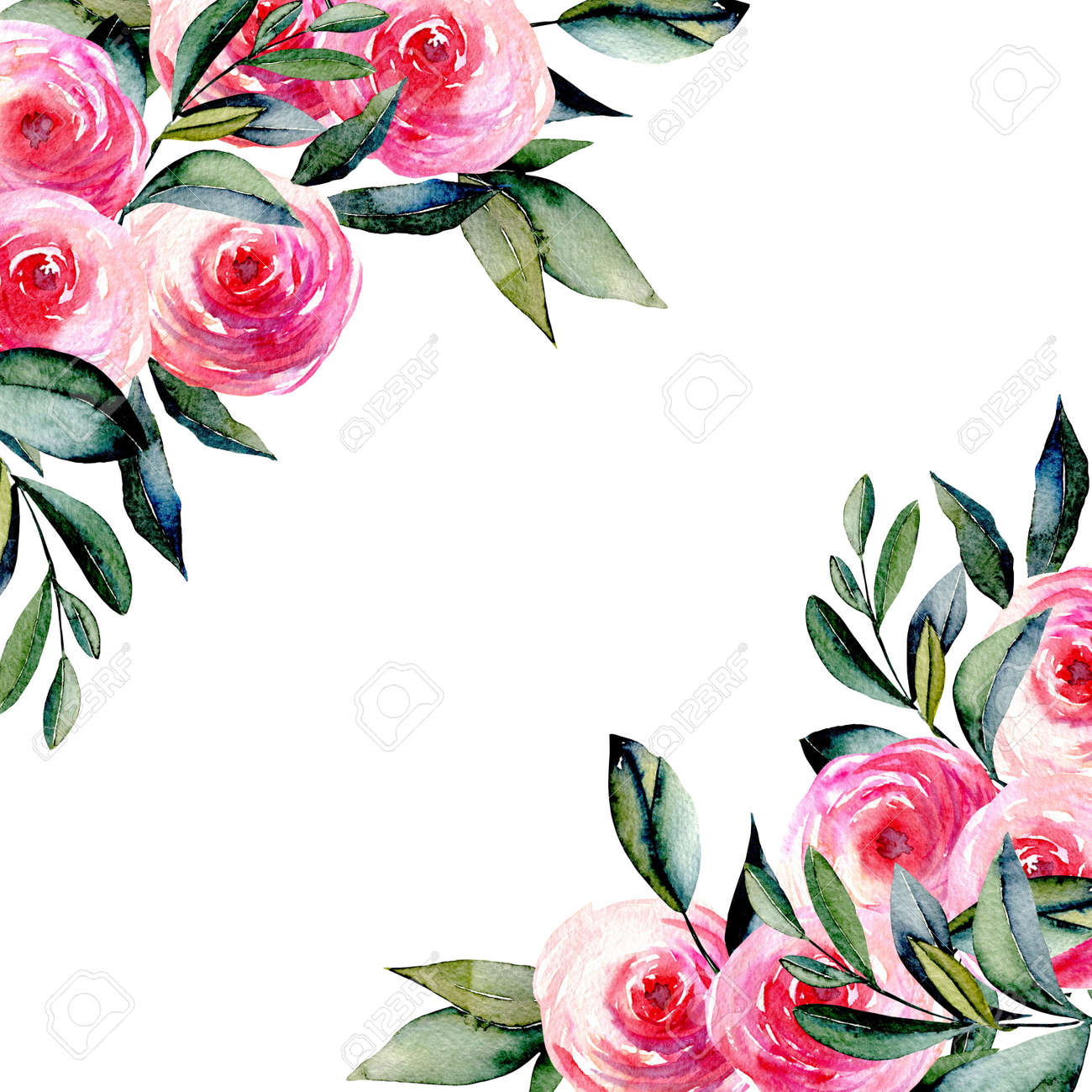 card template with watercolor red roses and green leaves in the