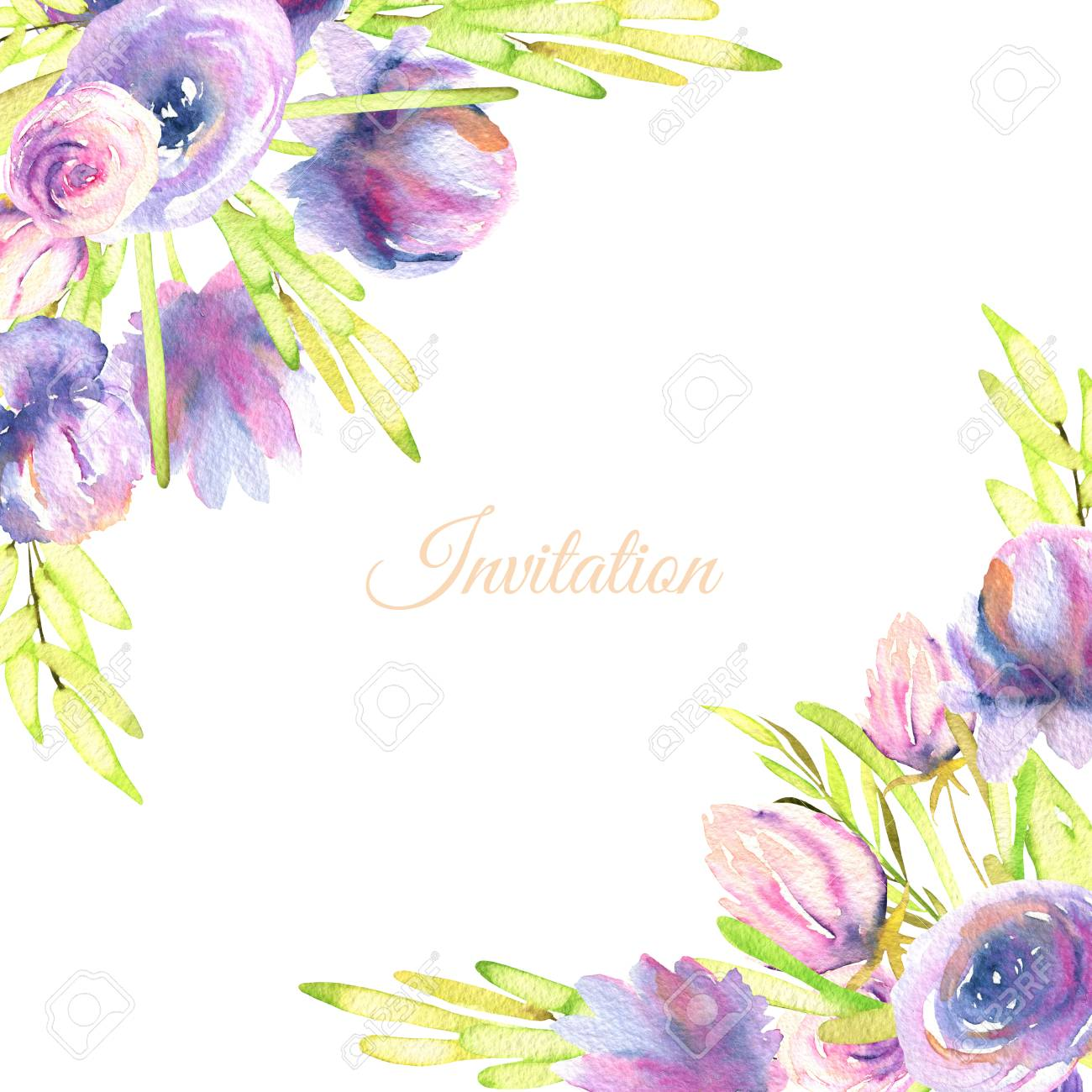 Watercolor Purple Peony And Roses Card Template Wedding Greeting