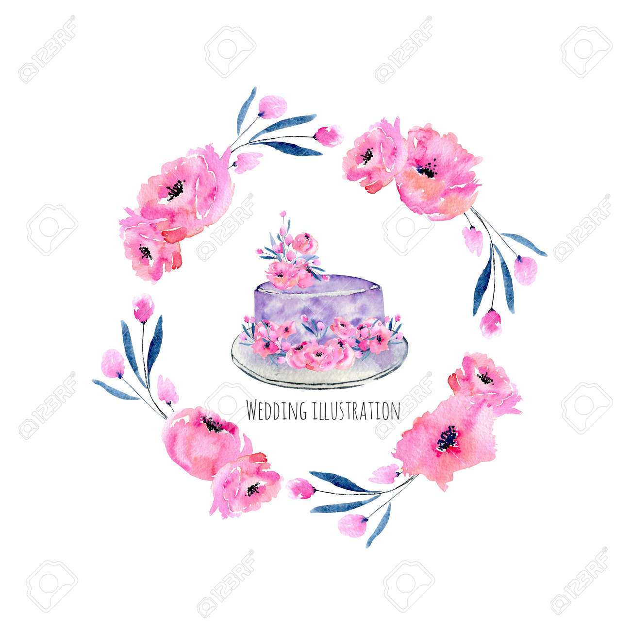 Watercolor Holiday Wedding Cake With Poppies Wreath Illustration ...