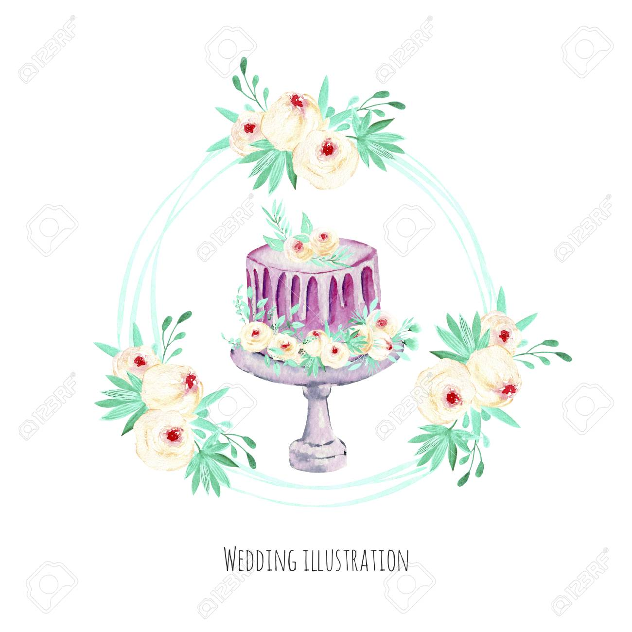 Watercolor Holiday Wedding Cake With Pink And Mint Floral Wreath ...