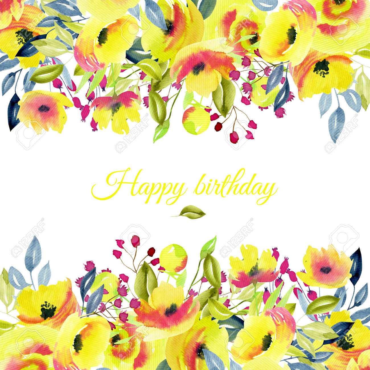 Card Template Floral Border With Yellow Roses And Branches Stock