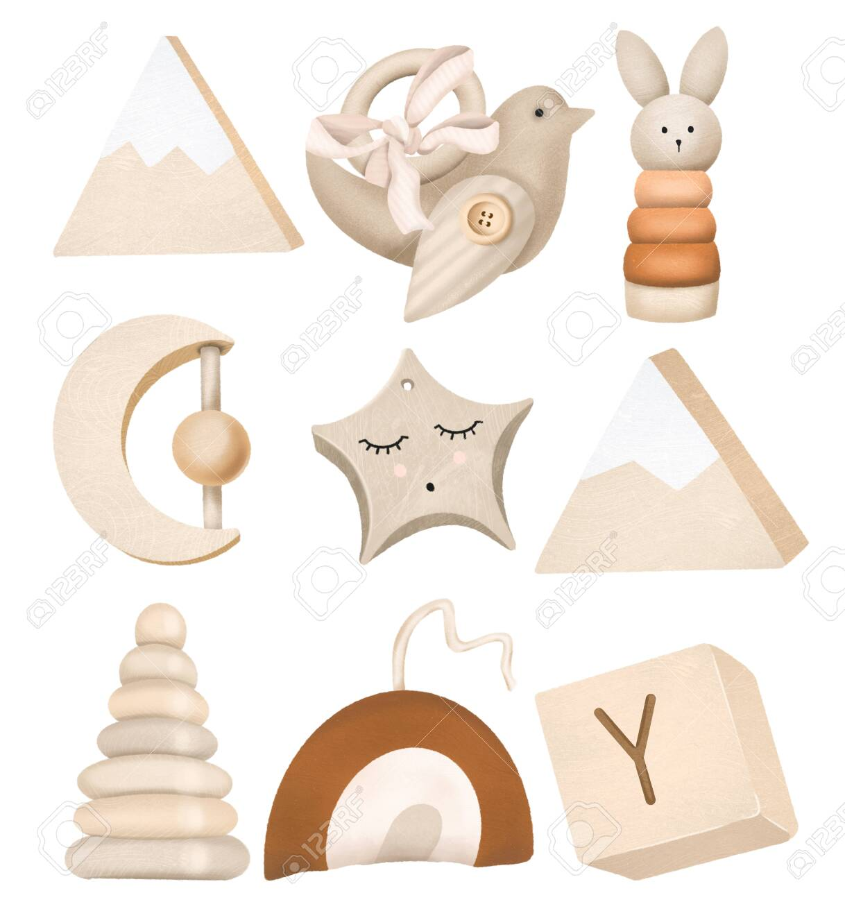 Set of wooden toys for kids, isolated elements on a white - 149741914