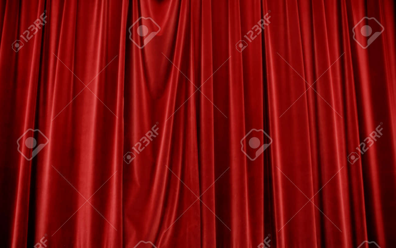 Closed theater curtains - Closed Red Velvet Stage Curtains Stock Photo 3835797