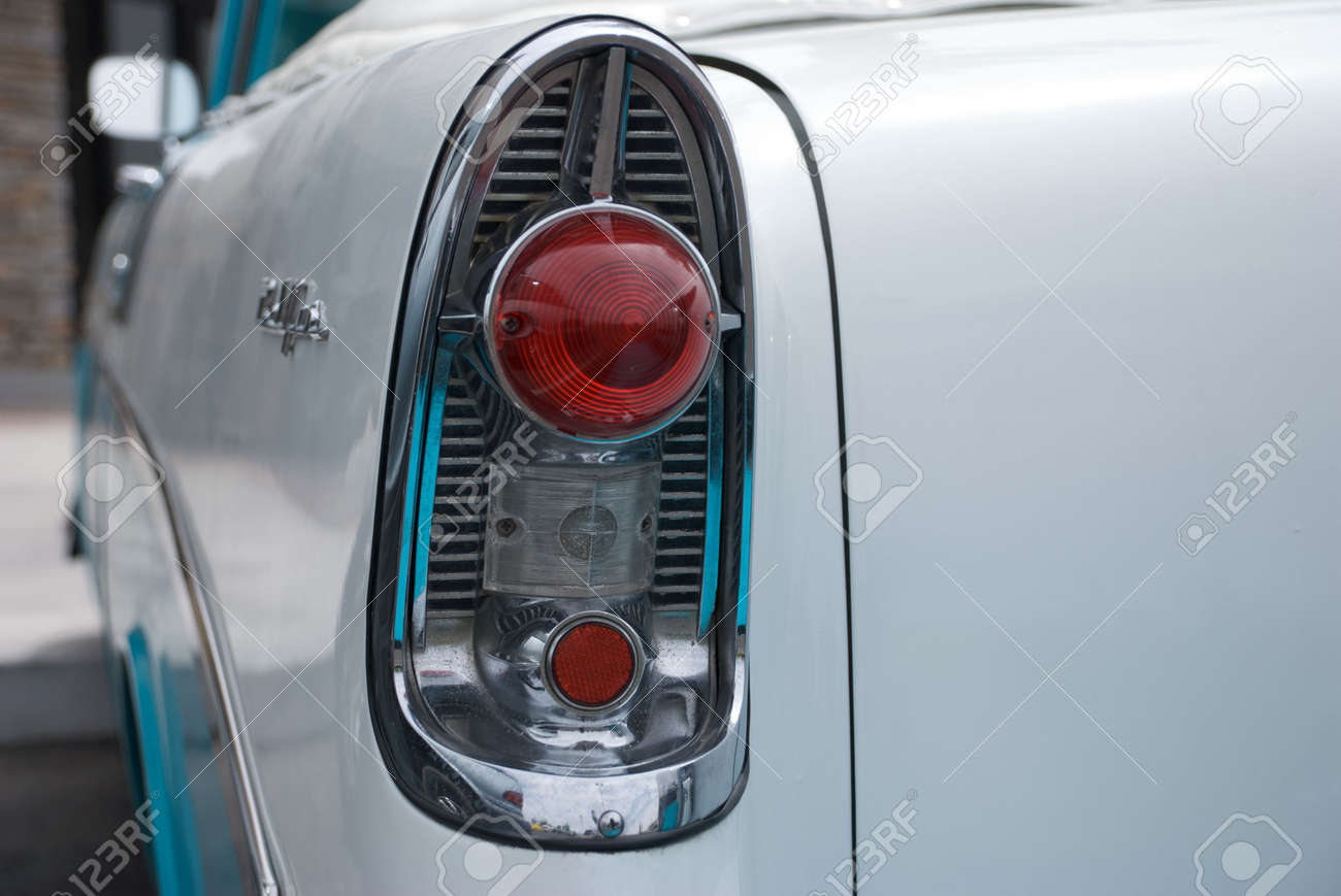 Tail Light Of A Classic 1950 S Blue And White Convertible Car Stock Photo Picture And Royalty Free Image Image 5443552