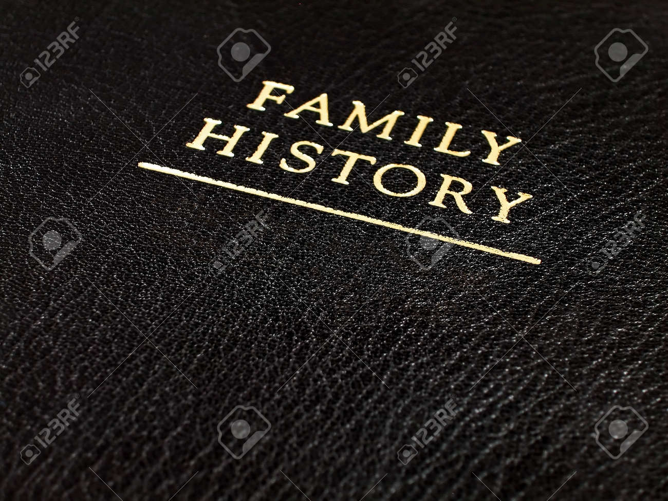 a black leather bound book cover that reads family history stock