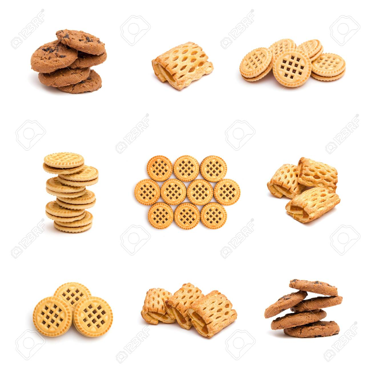 Collage of cookies isolated on white background Stock Photo - 6925804