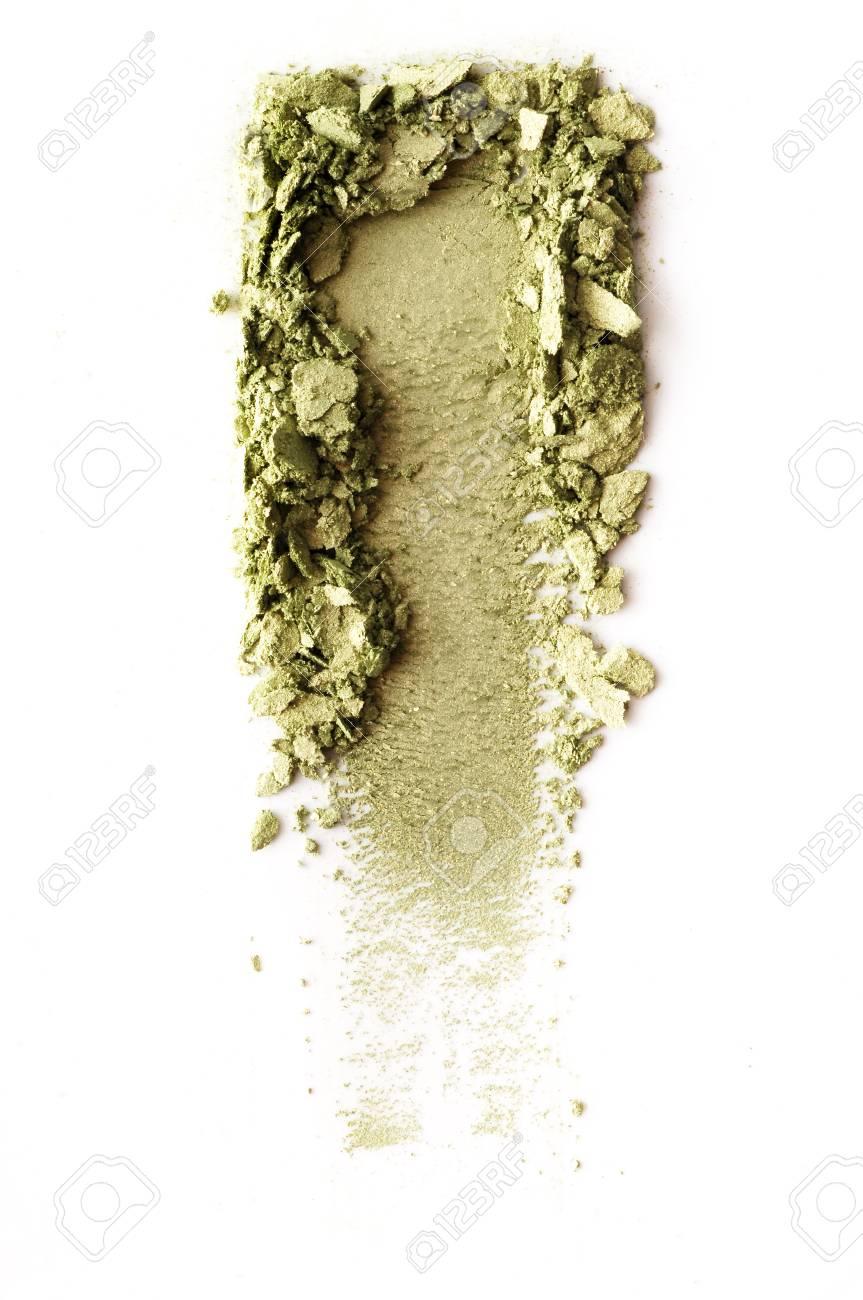 Crushed green eyeshadow isolated on white background - 88482589