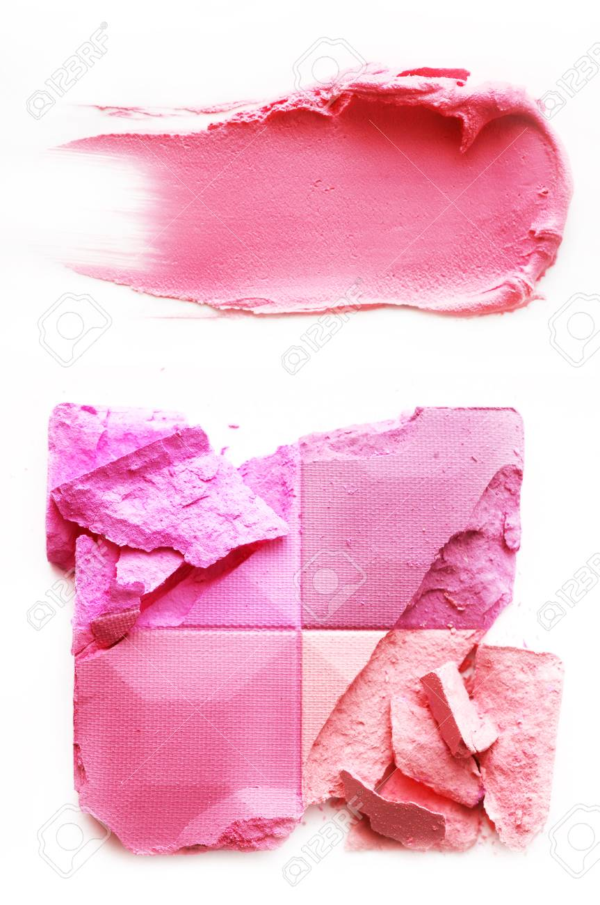 Eyeshadow pink and lipstick pink crushed and mixed isolated on a white background - 88482635