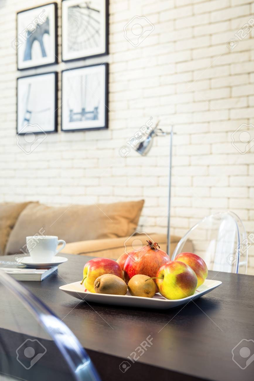 Sweet fresh fruits on plate - 94733434