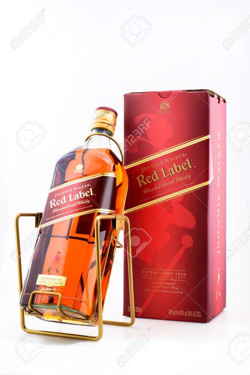 Kyiv, Ukraine - May, 2019. Bottle of Scotch Whisky Johnnie Walker Black Label 3000 ml - 142155466