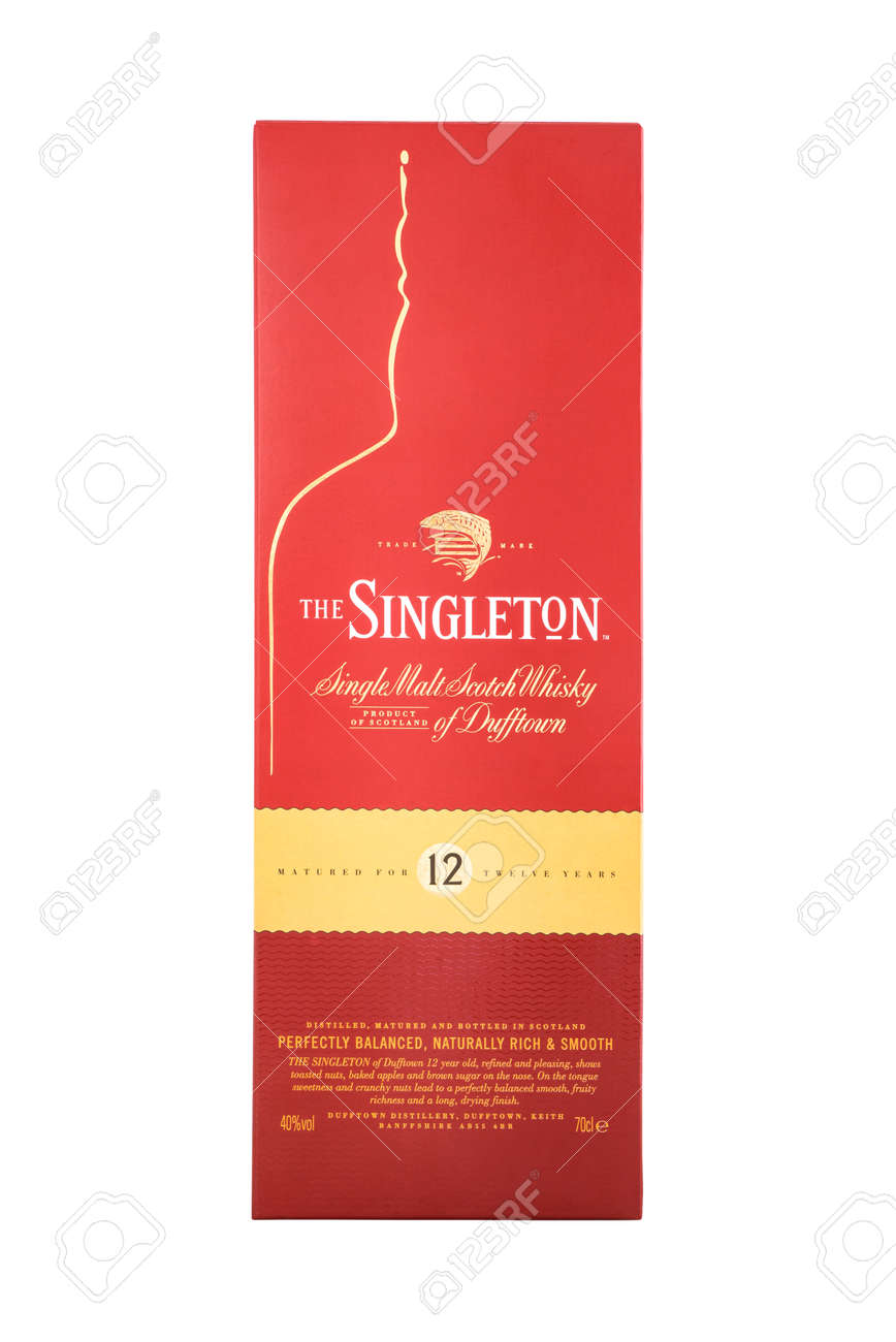 Kyiv, Ukraine - MAY 7, 2019: Bottle of Singleton of Dufftown, a brand of single malt scotch whisky produced by Dufftown distillery since 1895, now owned by Diageo. - 142155471