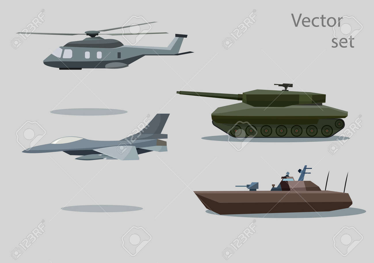 vector set of military vehicle with shadows isolated on gray background Stock Vector - 27783045
