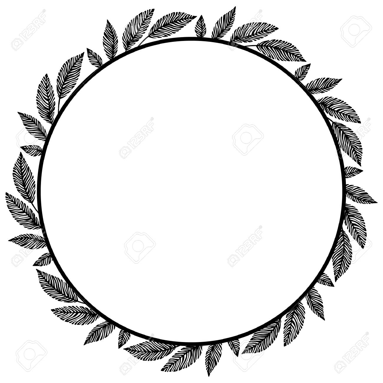 Vector Circle Frame, Wreath Made Of Branches. Circle Decoration ...