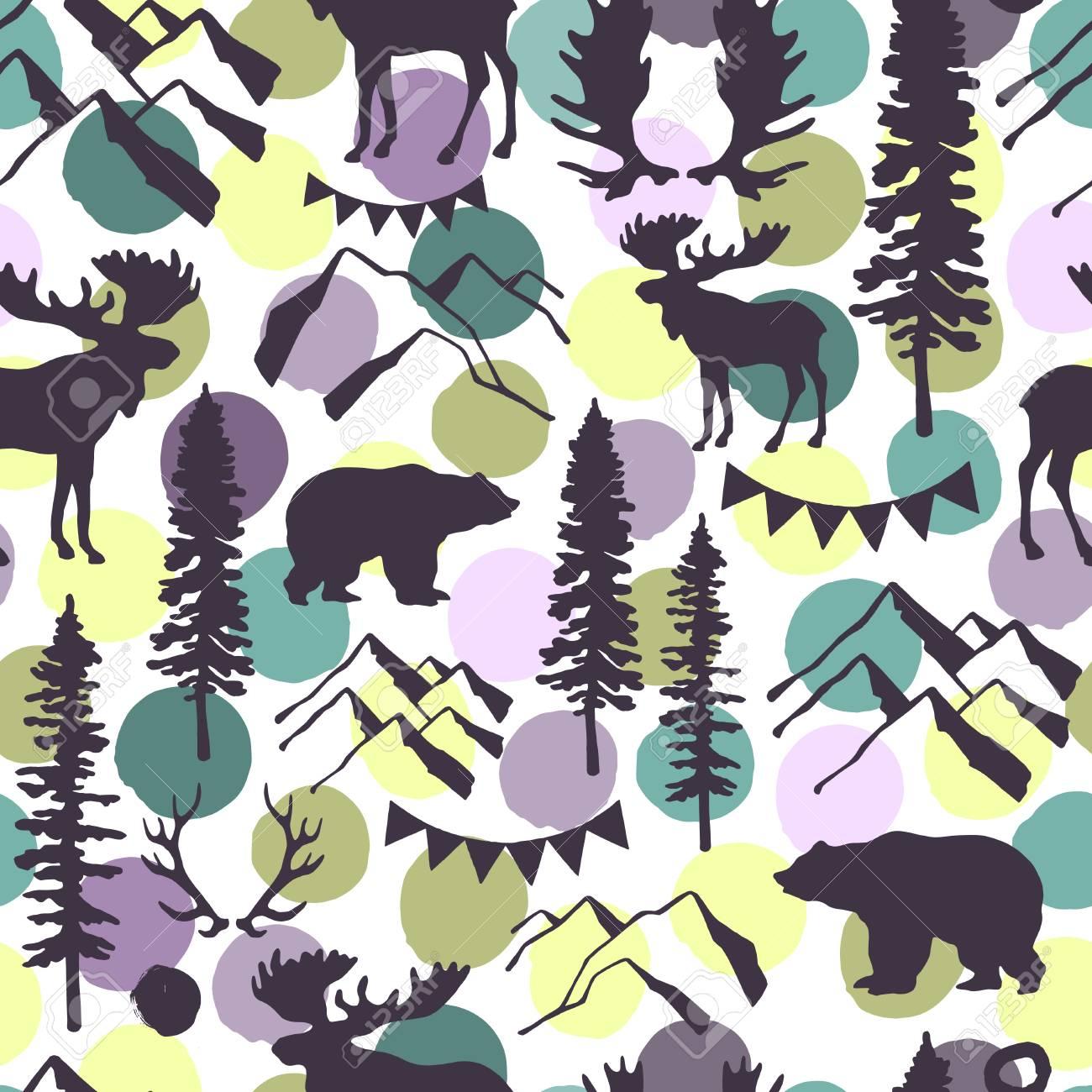 Wald Nahtlose Muster. Wilde Natur. Ideal Für Karten, Einladungen ...
