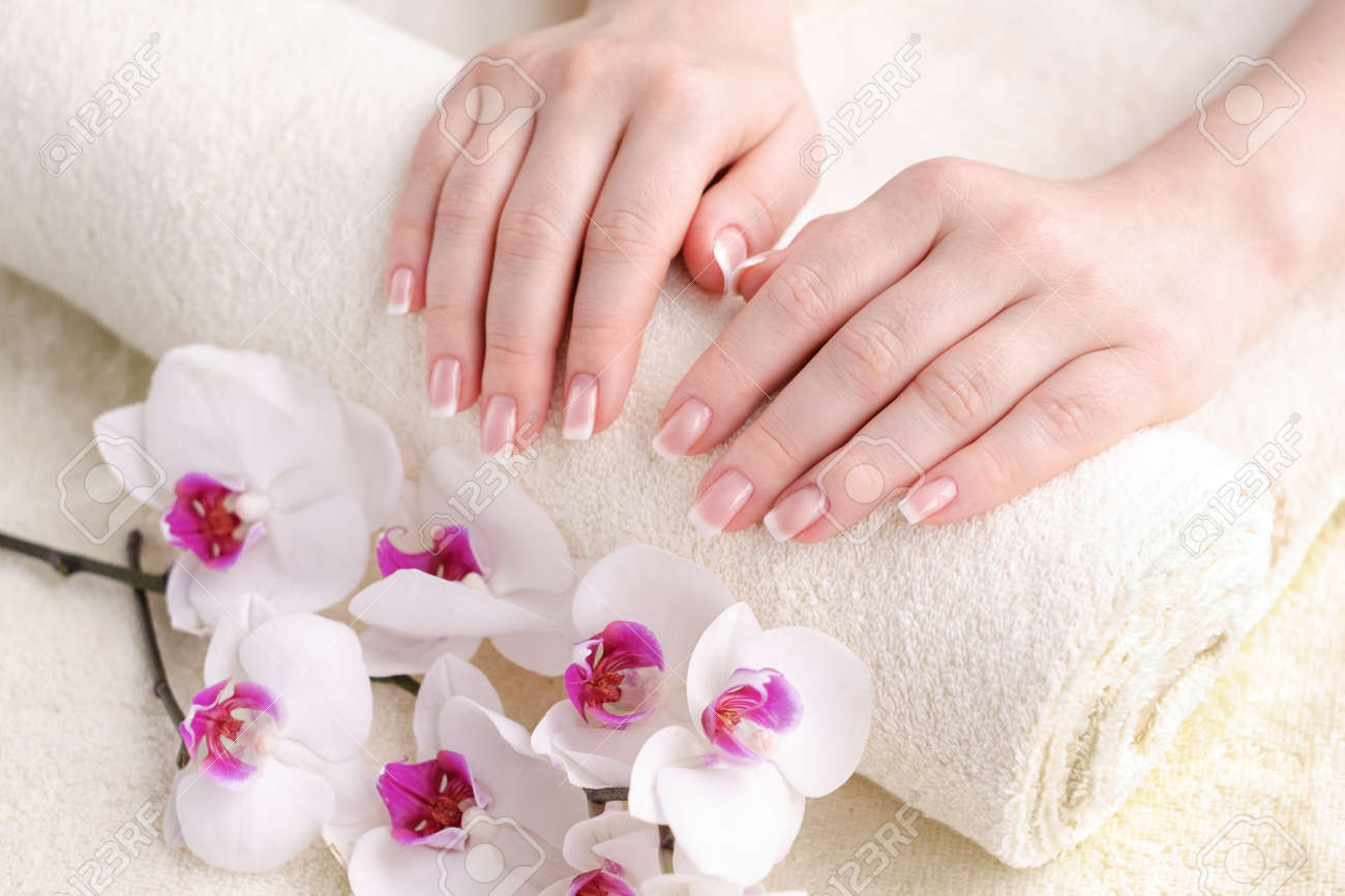 Nails with french manicure. Beautiful female hands with an orchid. Well-groomed skin and nails. Beauty and health concept - 139083813