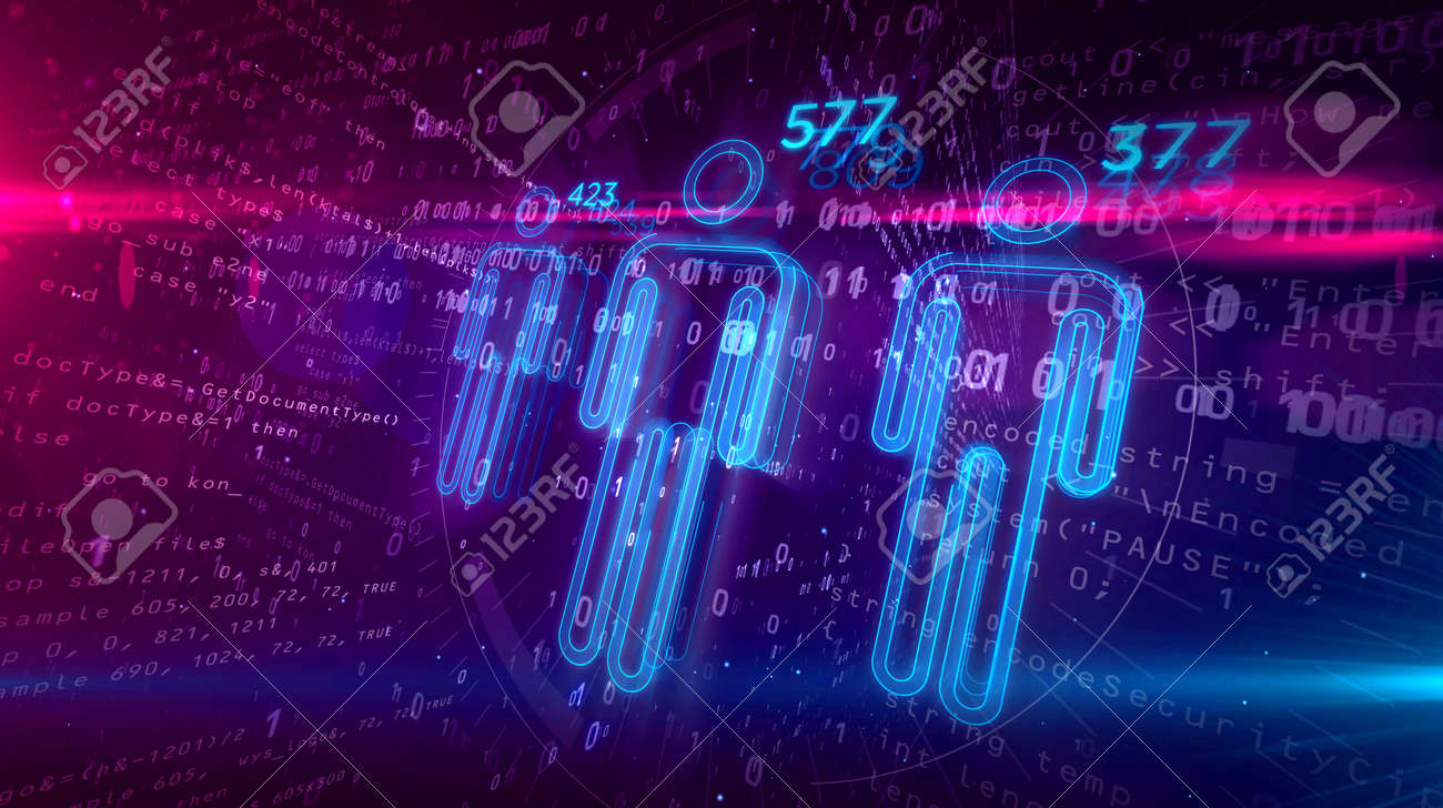 Social scoring and credit rating concept on digital background. Analysing and profiling people by artificial intelligence technology 3D illustration. - 117170935