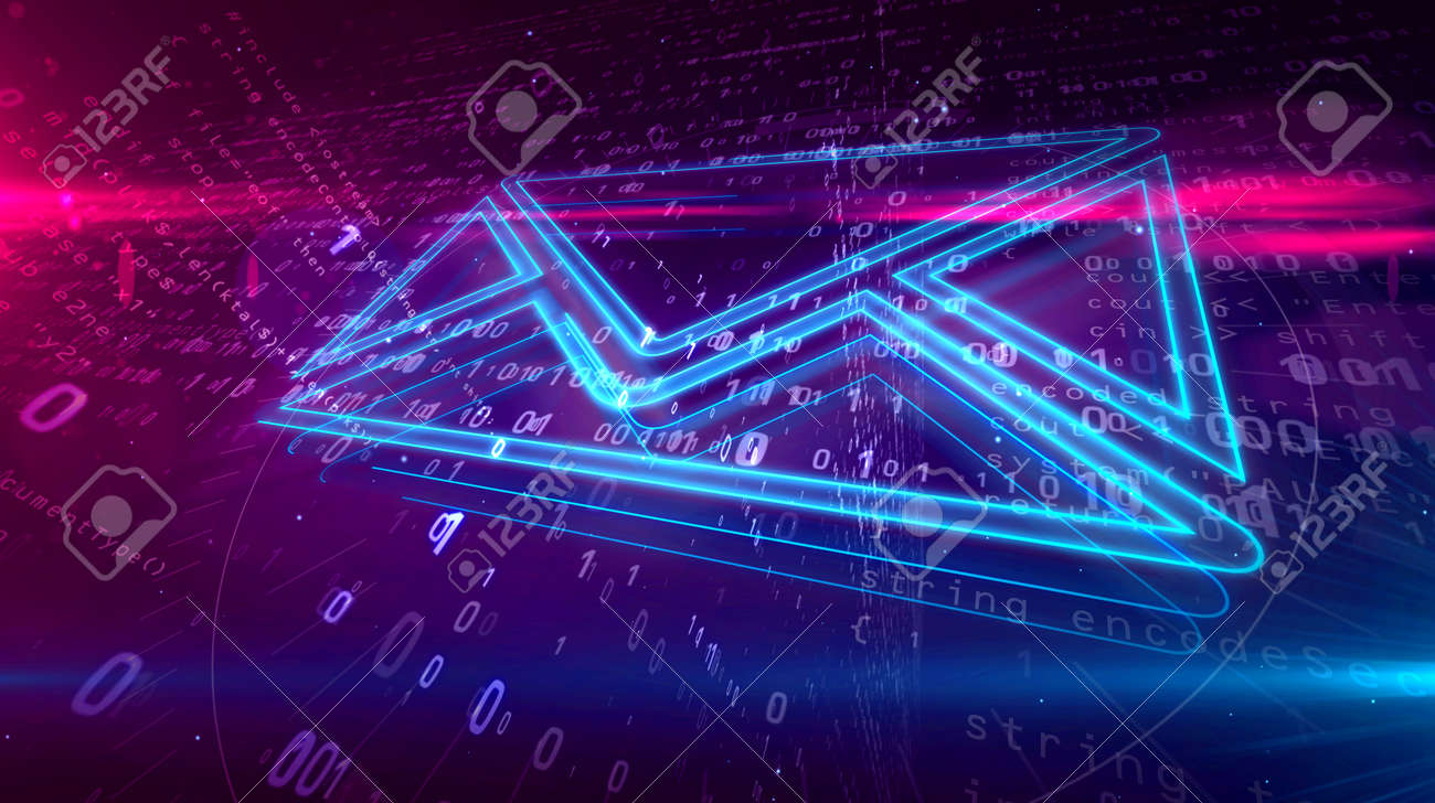 E-mail communications in cyberspace with envelope symbol on digital background. Digital message icon abstract concept 3D illustration. - 117172578