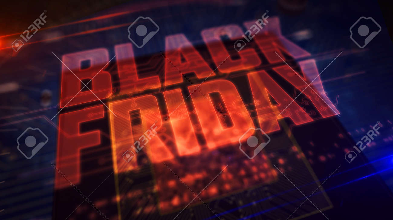 Black friday glowing hologram over working cpu in background. Futuristic and modern sale promotion and shopping advertise 3d illustration. - 126133411