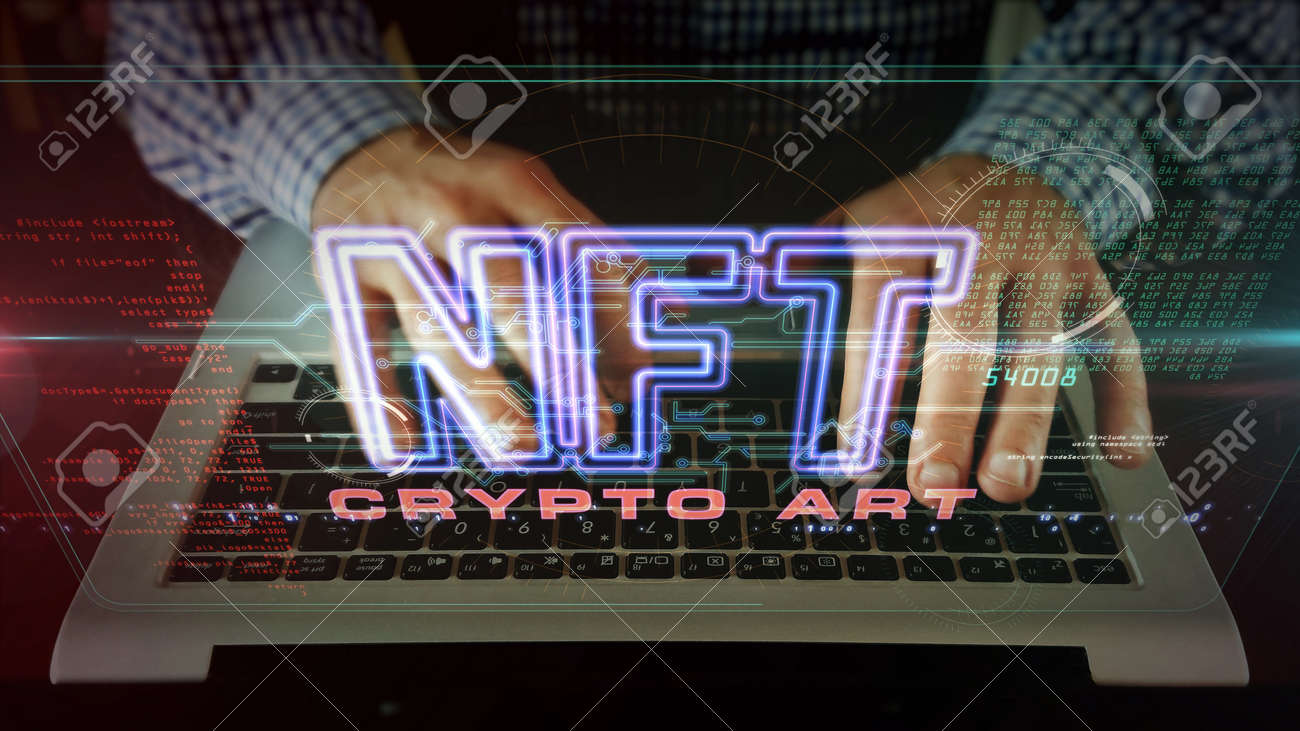 NFT crypto art sign, non fungible token of unique artist collectibles, blockchain and digital artwork selling technology symbol. Man typing on keyboard. Futuristic abstract concept 3d rendering. - 166327642