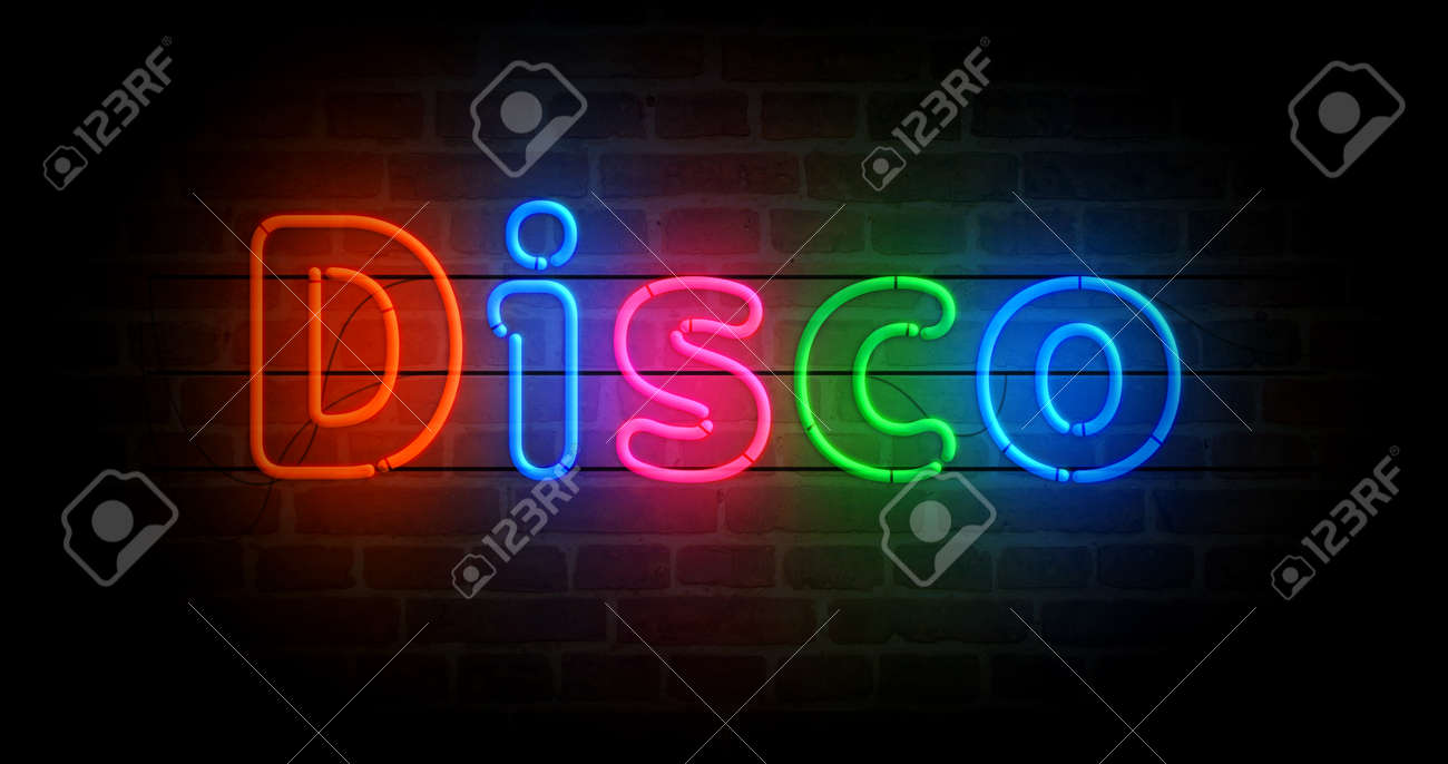 Disco symbol neon symbol. Light color bulbs with retro nightlife city music club sign. Abstract concept 3d illustration. - 169697838