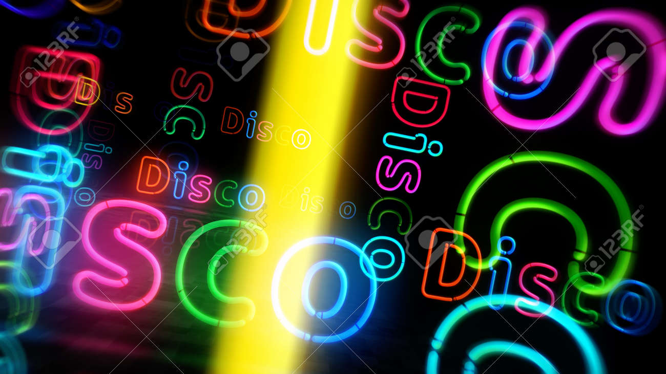 Disco symbol neon symbol. Light color bulbs with retro nightlife city music club sign. Abstract concept 3d illustration. - 169697843