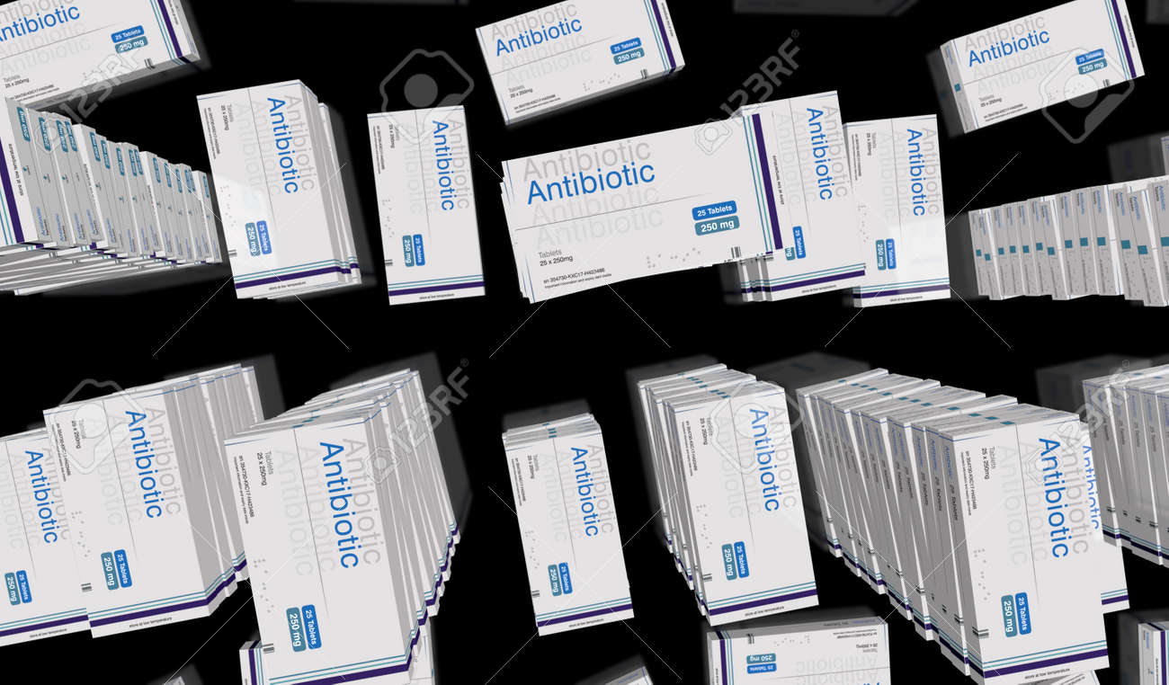 Antibiotic pack production line. Medical therapy drug box factory. Abstract concept 3d rendering illustration. - 169697850