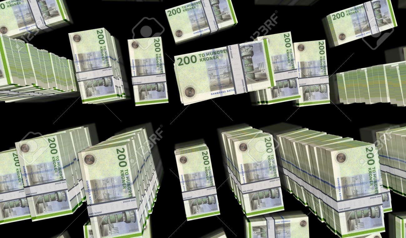 Danish krona money pack 3d illustration. DKK banknote bundle stacks. Concept of finance, cash, economy crisis, business success, recession, bank, tax and debt in Denmark. - 169697855